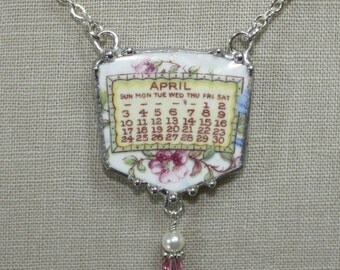 April 1921 Calendar Plate Broken China Jewelry Necklace with Month and Flowers