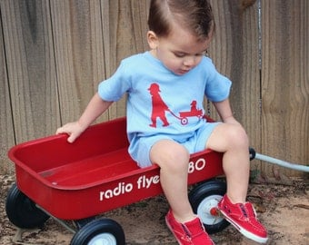 Boy with a Wagon Nostalgic Graphic Tee Onesie / Romper in Short Sleeves - Sky with Red Free Shipping