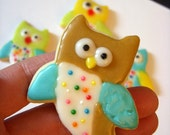 Little Owl Cookie Cutter - happy, flying, baby bird topper baby shower