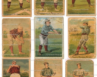 Vintage Baseball Cards 103 Collage Sheet Instant Digital Download