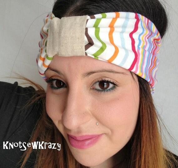 Turban Fabric Headband - Chevron Stripe Rainbow