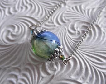 Dandelion Seed Heaven & Earth Spiritual Ombre Blue-Green Glass Terrarium Reliquary Pendant-Ride The Wind-Symbolizes Happiness-Gifts Under 35