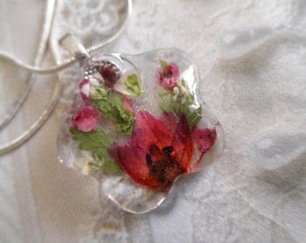 Ombre Pink Boronia, Heather, Ferns, Queen Anne's Lace Glass Flower Shaped Pressed Flower Pendant-Nature's Art-Symbolizes Peace-Gifts For 25