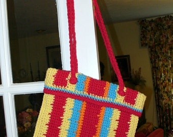 Crocheted Tote/Purse Yellow, Red, Turquoise, Orange, Stripes100% cotton