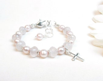 Baby Girl Bracelet // Baptism Bracelet // Christening Bracelet // Baby Bracelet // Child's Bracelet // Flower Girl Bracelet // Pink Bracelet