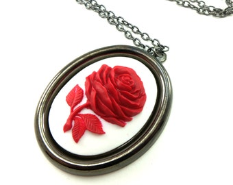 Large Red Pendant Red Rose Necklace White Cameo Necklace Dark Silver Gothic Statement Necklace
