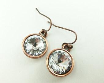 Clear Crystal Copper Earrings Crystal Drop Earrings Swarovski Crystal Earrings Clear Crystal Jewelry