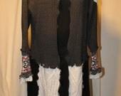 Valentine Sweater Coat / XL / Gray Red White / OOAK / Hearts / Scandinavian Motif