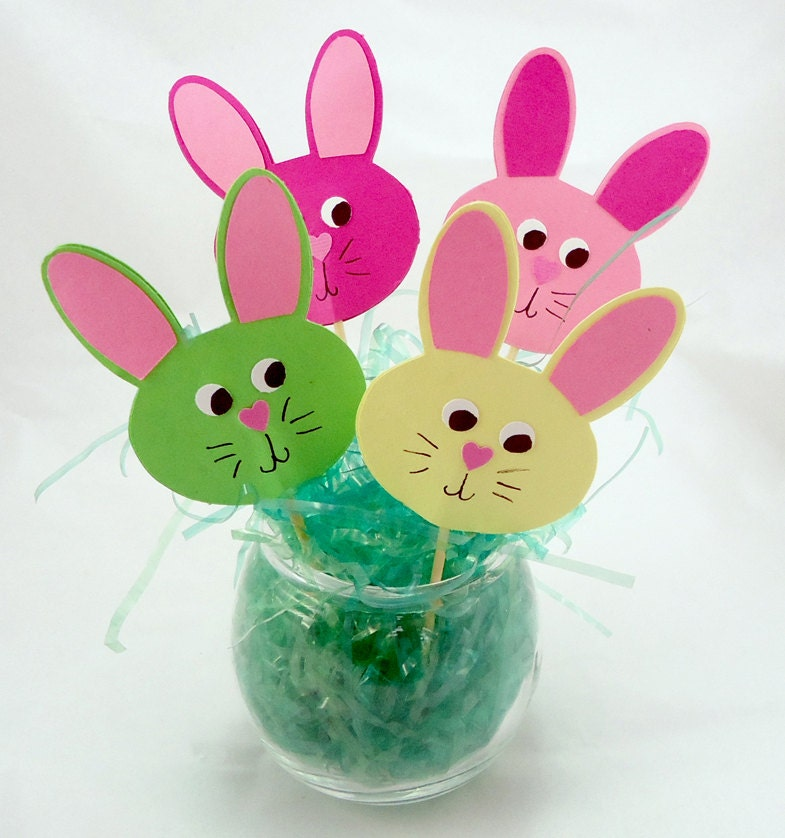 easter bunny face cupcake toppers in spring colors