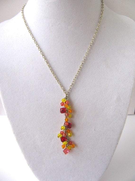 Sunrise Orange Pink Yellow Swarovski Y Necklace FREE SHIPPING