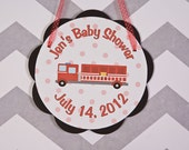 Firetruck Themed Baby Shower Party Sign Door Hanger - Firetruck Baby Shower Decorations in Red and Black