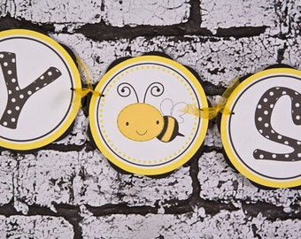Bee Theme BABY SHOWER Banner, Bumble Bee Baby Shower Decorations in Yellow and Black, Gender Neutral Banner