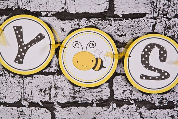 Items Similar To Bee Theme BABY SHOWER Banner Bumble Baby Shower Decorations In Yellow And Black Gender Neutral On Etsy