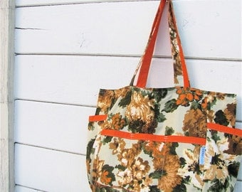 Vintage Blossoms Upcycled Large Weekender - Mid Century Floral Print Market / Diaper Bag - Orange / Greens - Fall / Spring - Limited Edition