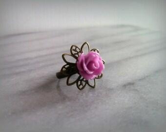 Antique bronze adjustable lavender rose ring