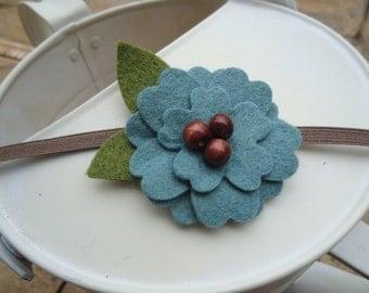 Blue Felt Flower Headband with Brown Bead Accent