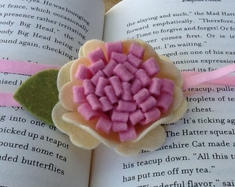 Felt Flower Headband - Cream & Pink Wool loopy bloom