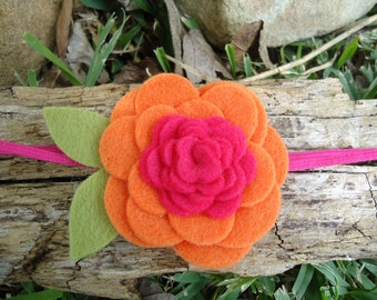 Bright Orange & Hot Pink Felt Rose Flower Elastic Headband