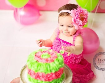 Hot Pink Flower Headband - Jumbo Hot Pink & Pink Peony w/ Rhinestone Center Headband or Hair Clip - Baby Toddler Child Girls Headband