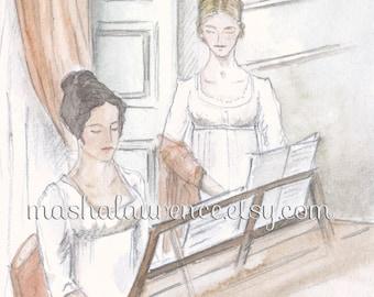 Elizabeth and Georgiana at the piano.  Art print. 5x7.