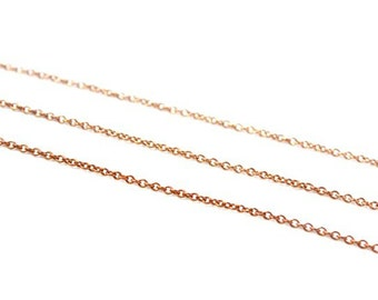 3 feet - Thin Dainty - Vintage Chain Brass - Round Link 1x 2mm - Ultra Fine Chain - Copper Gold Color Brass