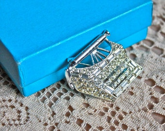 Vintage 1950's Brooch // 50s 60s Rhinestone Typewriter Brooch // Novelty Jewelry