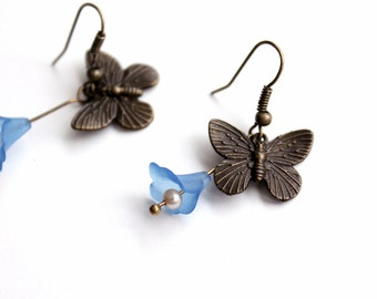 Free shipping - Butterfly Earrings with Flower