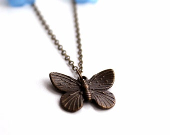 Free shipping - Flower and Butterfly Necklace
