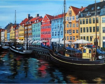 Copenhagen Oil Painting - 18x12in Giclee Print