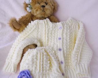 Crocheted Sweater Hat Irish Knit Baby Girl Purple Flower Newborn Infant Sizes Custom Order Only