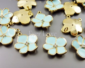 2 baby blue orchid flower connectors, Cubic Zirconia charms, necklace charm C1567G-BB (bright gold, baby blue, connectors, 2 pieces)