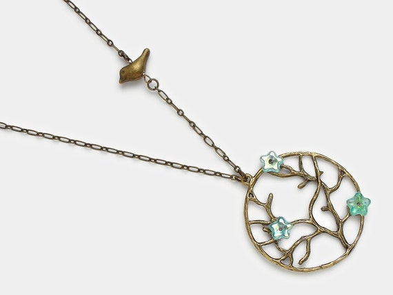 Gold Necklace tree of life branch brass bird charm aquamarine blue glass flowers pendant womens gift handmade jewelry Steampunk Nation R1044