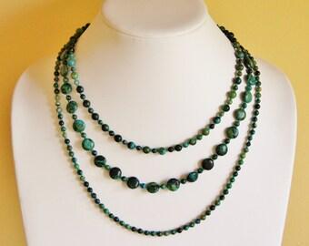 Jasper necklace, statement necklace, Azurite Chrysocolla jewelry, Australian jasper jewelry, natural stone necklace, gemstone jewelry, boho