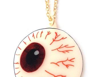 Eyeball Necklace -  Halloween, Spooky Eye, Brown, Blue, Green, Zombie, Bones, Skeletal, X Ray, Anatomical, Optical, Optician