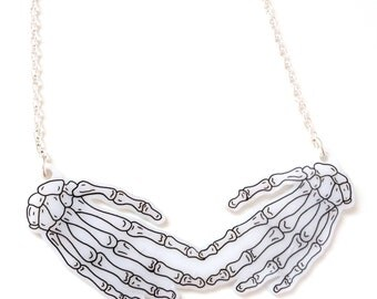 "Skeleton Hands Necklace - ""Touched By A Skeleton"" - Halloween, Anatomical, Skeletal, Hand Bones, Zombie, X Ray, Dead, Spooky, Horror"