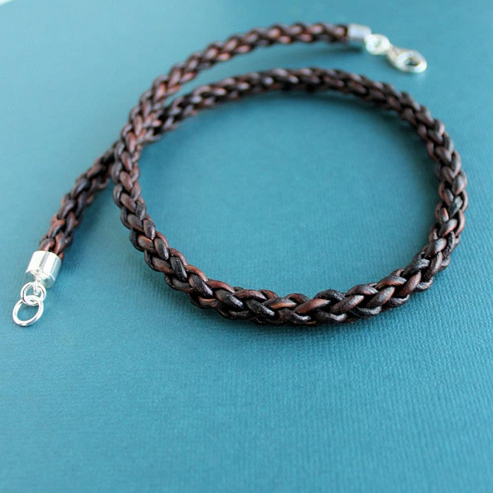 mens brown leather necklace thick braided cord sterling silver