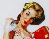 SALE 3D Embellished  'Dear Diary' Vintage Pinup Girl Magnet In White