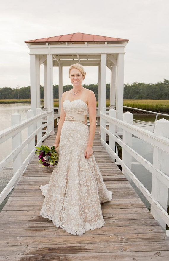 Items Similar To Champagne And Ivory Lace Wedding Dress