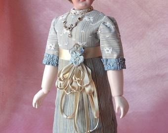 "12"" French Fashion doll  RECEPTION GOWN pattern for circa 1910 clothing, Downton Abbey era"