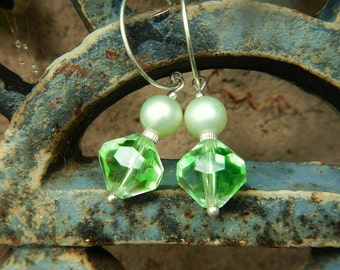 Green Envy Earrings - One-of-a-Kind w Vintage Japanese Glass & Pearlized Round Beads and Artisan-Made Sterling Silver Hoops