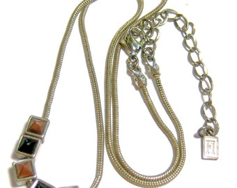 vintage FI silver tone vintage necklace with tiny squares SB13
