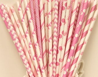 Paper Straw, 25 PRETTY IN PINK Party Paper Straws, Pink Paper Straw Mix with Diy Flags, Girl, Princess, Tea Party, Crown Straws, Baby Shower
