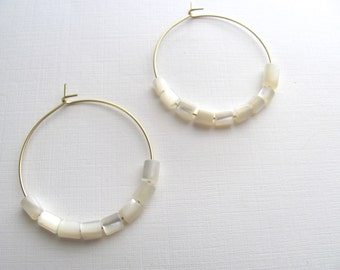 Gold hoop earrings with vintage ivory mother of pearl beads