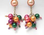 Vintage Bubble Earrings, Cha Cha Earrings, Cluster Earrings, Multi Color Earrings