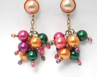 Vintage Bubble Earrings, Cha Cha Earrings, Cluster Earrings, Multi Color Earrings
