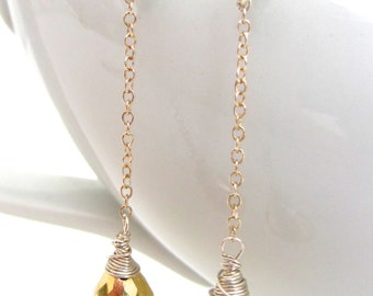 Gold Pyrite Earrings, Sterling Silver Wire Wrapped, Long Dangle Chain, Handmade Gemstone Jewelry by Sonja Blume