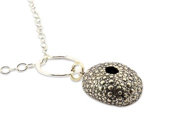 Silver Sea Urchin Necklace - beach jewelry - oxidized - metalwork - sterling chain