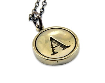 Letter A Necklace - White Bronze Initial Typewriter Key Charm Necklace - Gwen Delicious Jewelry Design