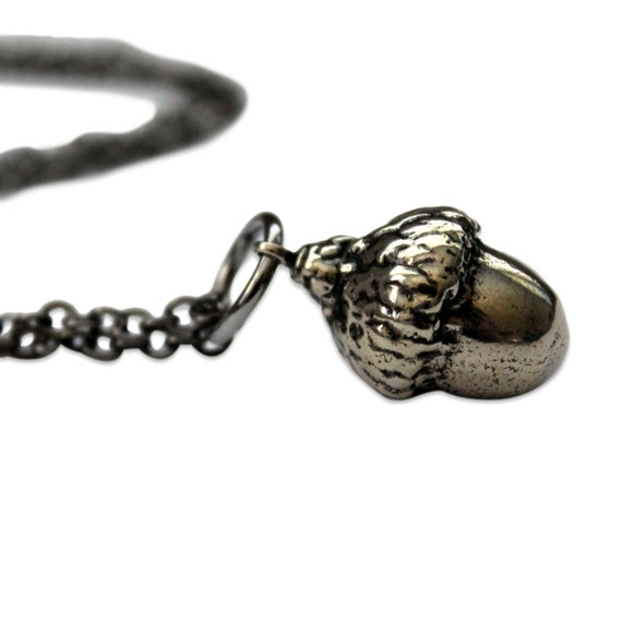 Two for One Sale....Silver Acorn Necklace White Bronze - Gwen Delicious Jewelry Designs
