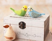 Japanese Needle Wool Felt DIY Kit - Budgerigars Bird - Satomi Fujita - Kawaii Felting Kit, Hamanaka Kit, Easy Felting - F03